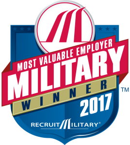 Recruit Military, Most valuable military employer award winner 2017. Logo.