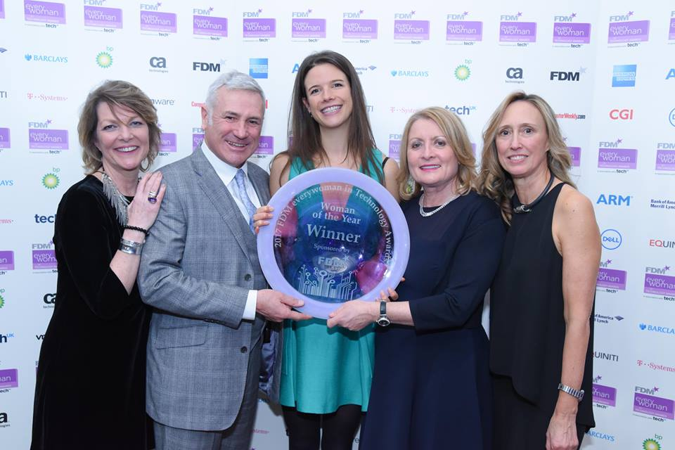 f.d.m. founders Rod and Sheila Flavel posing holding the everywoman in technology awards 2017