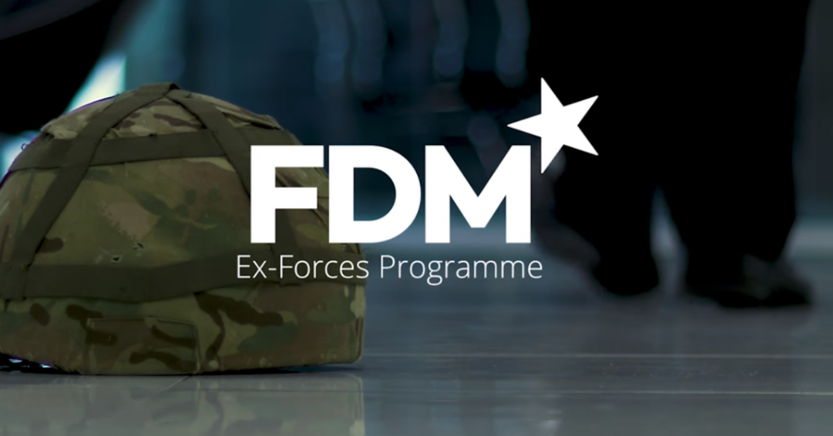 an image of a military helmet with the f.d.m. logo overlaid