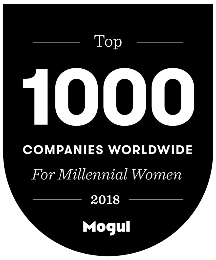 Mogul top 1000 companies worldwide for millennial women award logo.