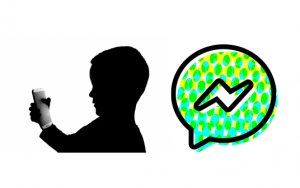 Silhouette of a child looking at a cell phone beside the Facebook Messenger Kids logo.