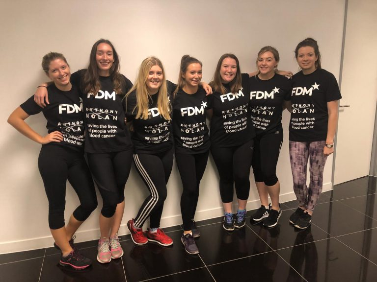 the f.d.m. netball team posing in Anthony Nolan charity t-shirts