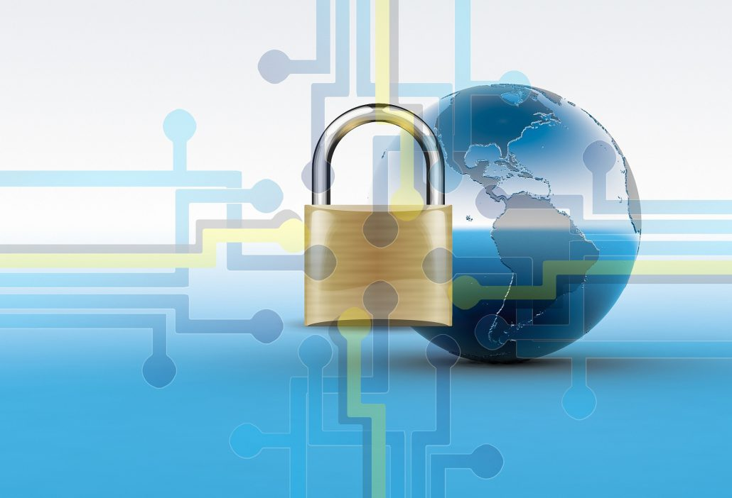 Stock photo image displaying a split screen whit and blue background, a globe, and in the foreground a golden lock with technical pathway additions fading into the background,