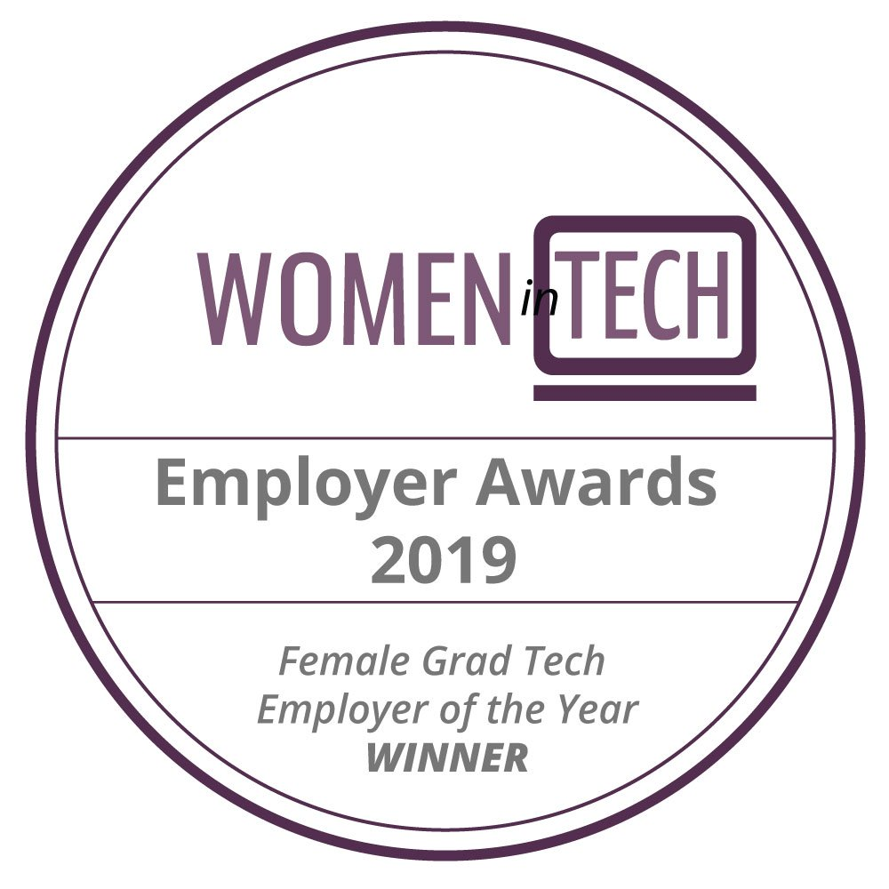 Female Grad Tech Employer of the Year award logo.