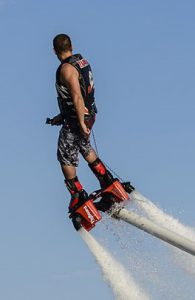 Franky Zapata on his original flyboard invention.