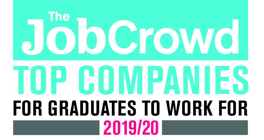 job crowd top company for graduates to work for award logo.