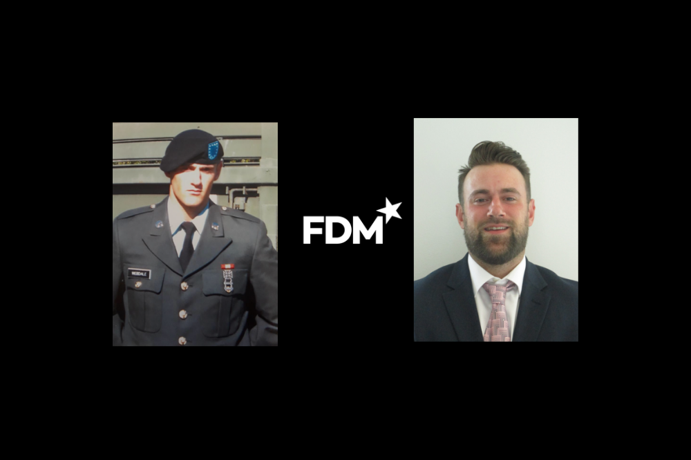 U.S. Army Veteran Jason Webdale pictured in uniform and then as a professionally dressed FDM consultant, prepared for the corporate world.