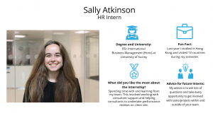 f.d.m. human resources intern Sally Atkinson.