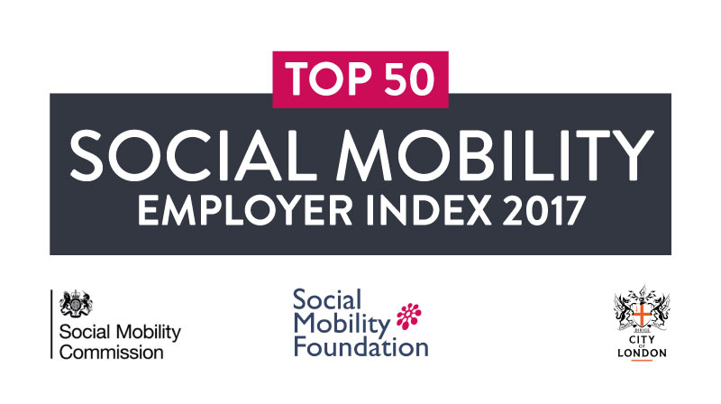 Top 50 business in the Social mobility employer index 2017 award badge