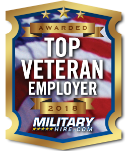 military hire.com top veteran employer 2018 award. Logo.
