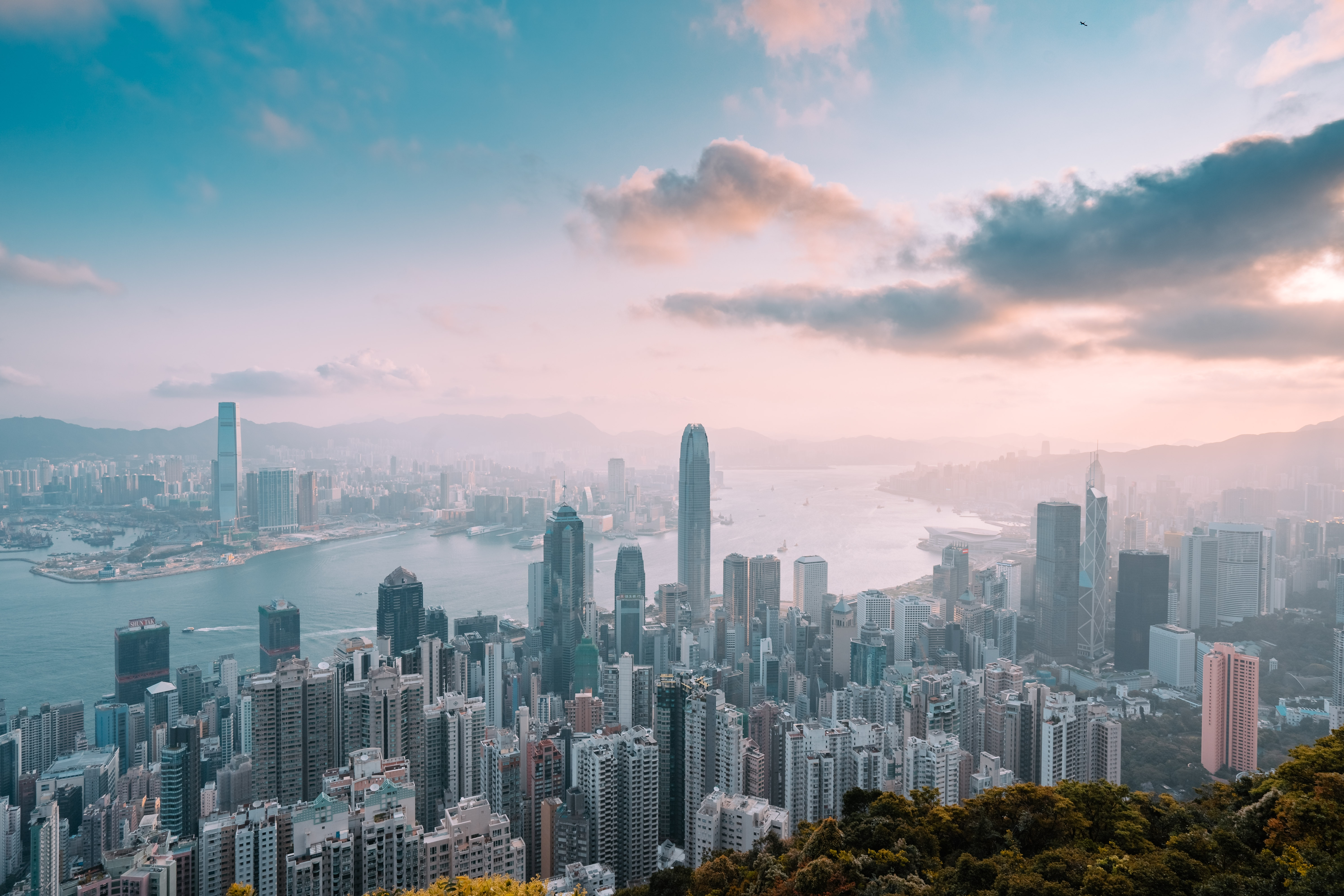 A morning view of the Hong Kong skyline.