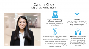 f.d.m. digital marketing intern Cynthia Choy.