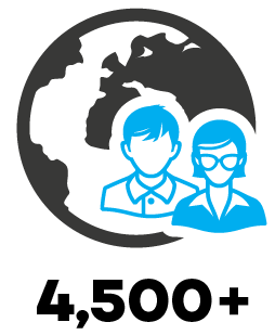 4,500+ employees globally
