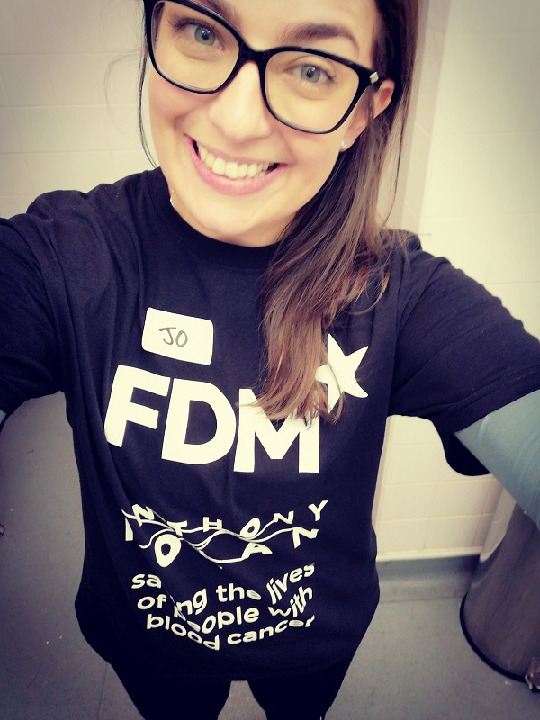 f.d.m. colleague Josephine Southwell Sander wearing an Anthony Nolan charity t-shirt